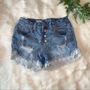 Mossimo | Distressed High Rise Denim Shorts
